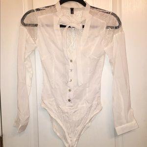 White lace back bodysuit